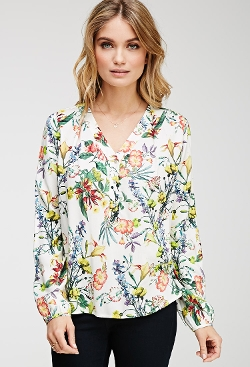 Forever 21 - Pleated Floral Print Blouse