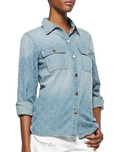 D-ID Denim  - Quilt-Textured Denim Shirt