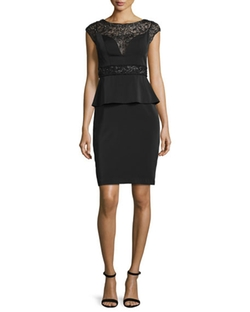 Sue Wong - Cap-Sleeve Beaded Peplum Dress