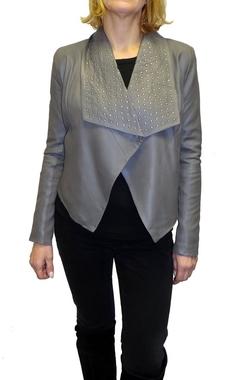 BCBGMAXAZRIA - Alexa Studded Drape Front Leather Jacket