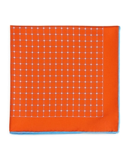 Kiton   - Grid-Print Silk Pocket Square