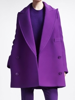 With Chic - Purple Lapel Loose Woolen Coat