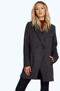 Boohoo - Kaley Double Breasted Wool Look Coat