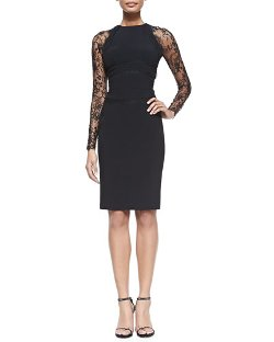 Elie Saab   - Sheath Dress with Long Lace Sleeves