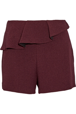 Sandro  - Plaisir Ruffle Trimmed Stretch Jacquard Shorts