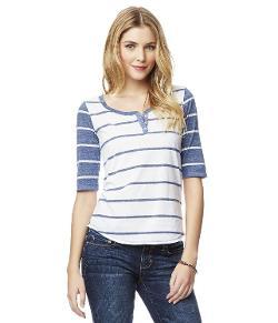 Aeropostale - Juniors Striped Ss Henley Shirt