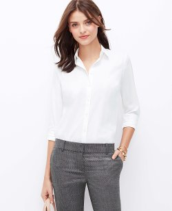 Ann Taylor - Mixed Media Button Down Shirt