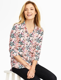 Talbots - Snow Birds & Floral Button Front Shirt
