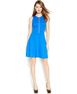 Michael Kors  - Petite Sleeveless Zip-Front Dress
