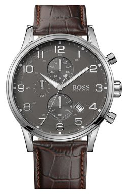 Boss Hugo Boss  - Stainless Steel & Leather Chronograph Watch