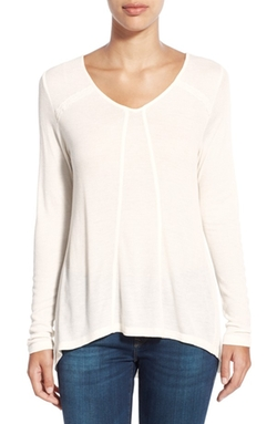 Kensie  - Lace Trim Waffle Knit V-Neck Top