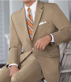 Jos. A. Bank - Natural Stretch 2-Button Poplin Plain Front Suit