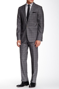 Star USA by John Varvatos  - Benson Plaid Peak Lapel Wool Suit
