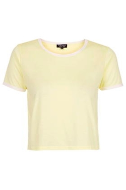Topshop - Contrast Trim Cropped Tee Shirt