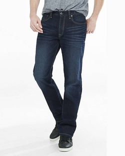 Express - Loose Fit Blake Dark Straight Leg Jeans