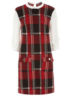 Dorothy Perkins - Tall Red Check Collar Dress
