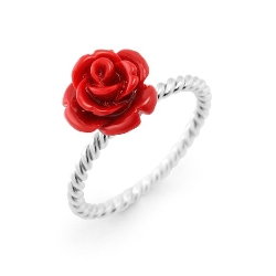 Chuvora - Sterling Silver Resin Red Rose Flower Ring