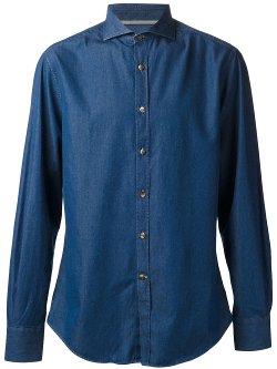 Brunello Cucinelli - Cut-Away Collar Chambray Shirt