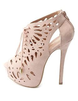 Charlotte Russe - Laser Cut-Out Peep Toe Lace-Up Booties