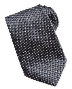 Ermenegildo Zegna  - Textured Check & Dot Silk Tie