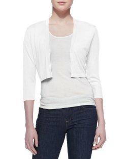 Neiman Marcus   - 3/4-Sleeve Silk-Cashmere Shrug
