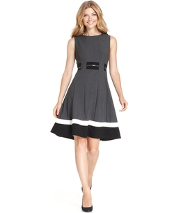 Calvin Klein - Sleeveless Belted Striped Dress