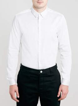 Topman - WHITE LONG SLEEVE EGYPTIAN COTTON SMART SHIRT