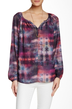 Karen Kane  - Tie-Dye Plaid Peasant Blouse