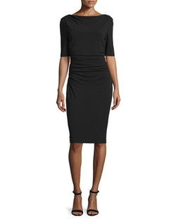 St. John Collection - Ruched Matte Jersey Bateau-Neck Dress