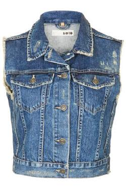 TOPSHOP - MOTO SLEEVLESS DENIM JACKET