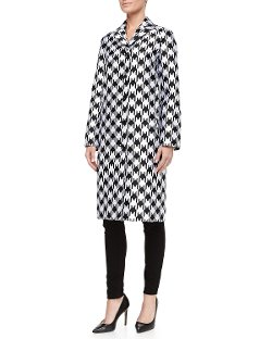 Michael Kors   - Dolman Split Houndstooth Coat