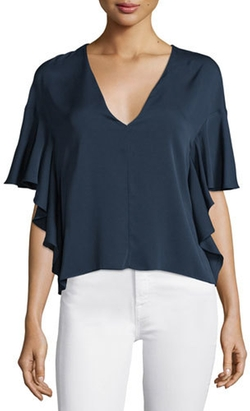 Milly - Cascade-Sleeve V-Neck Blouse