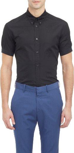 Alexander McQueen  - Skull Jacquard Short-Sleeve Shirt