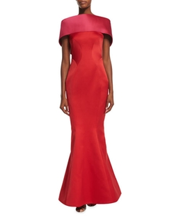 Zac Posen - Off-The Shoulder Colorblock Gown