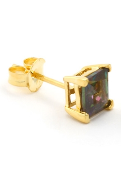 King Ice - Gold Square Mystic Topaz CZ Stud Earrings