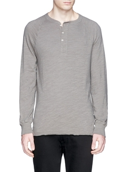 Rag & Bone   - Raglan Cotton Henley Shirt
