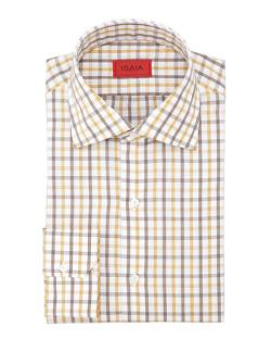 Isaia - Box-Check Poplin Dress Shirt