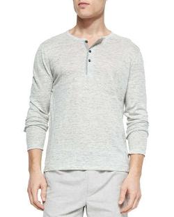 Vince - Long-Sleeve Linen Slub Henley Shirt