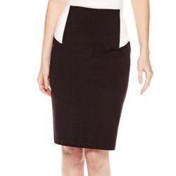 Liz Claiborne - Colorblock Ponte Knit Pencil Skirt