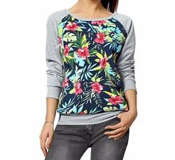 Allegra K - Printed Color Block Raglan Sweatshirt