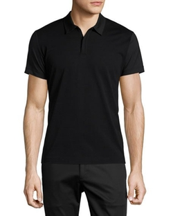 Theory  - Boyd Mixed-Media Zip Polo Shirt