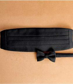 Jos. A. Bank - Pre-tied Black Grosgrain Bow Tie and Cummerbund Set