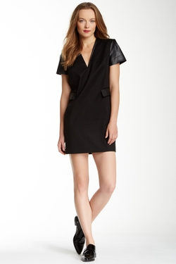 Rachel Zoe - Tuxedo Leather Trim Dress
