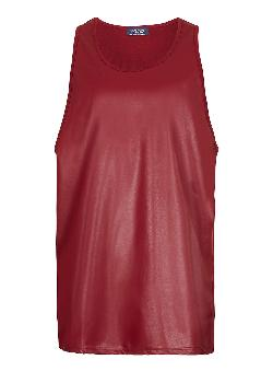 Topman - RED LEATHER LOOK FRONT SKATER TANK
