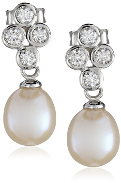 Bella Pearl - Dangling Bezel Drop Earrings