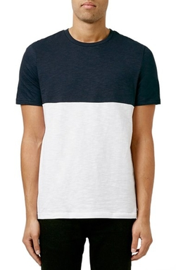 Topman - Slim Fit Colorblock Crewneck T-Shirt