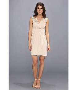 Vince Camuto  - Rhinestones On Shoulders V Neck Pleated Dress