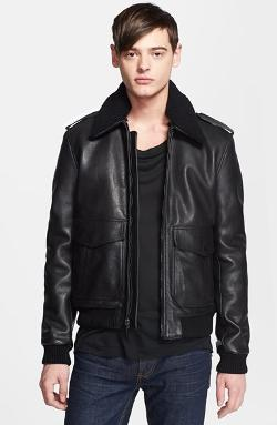 BLK DNM  - Leather Flight Jacket with Detachable Genuine Shearling Collar