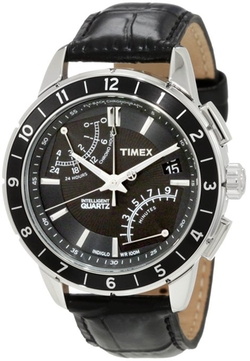 Timex - Fly-Back Chronograph Black Leather Strap Watch
