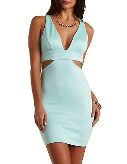 Charlotterusse - Deep V Bodycon Cut-Out Dress